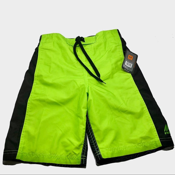 RBX Active Swim Black//Green Swim Trunks Youth Size Medium NWT